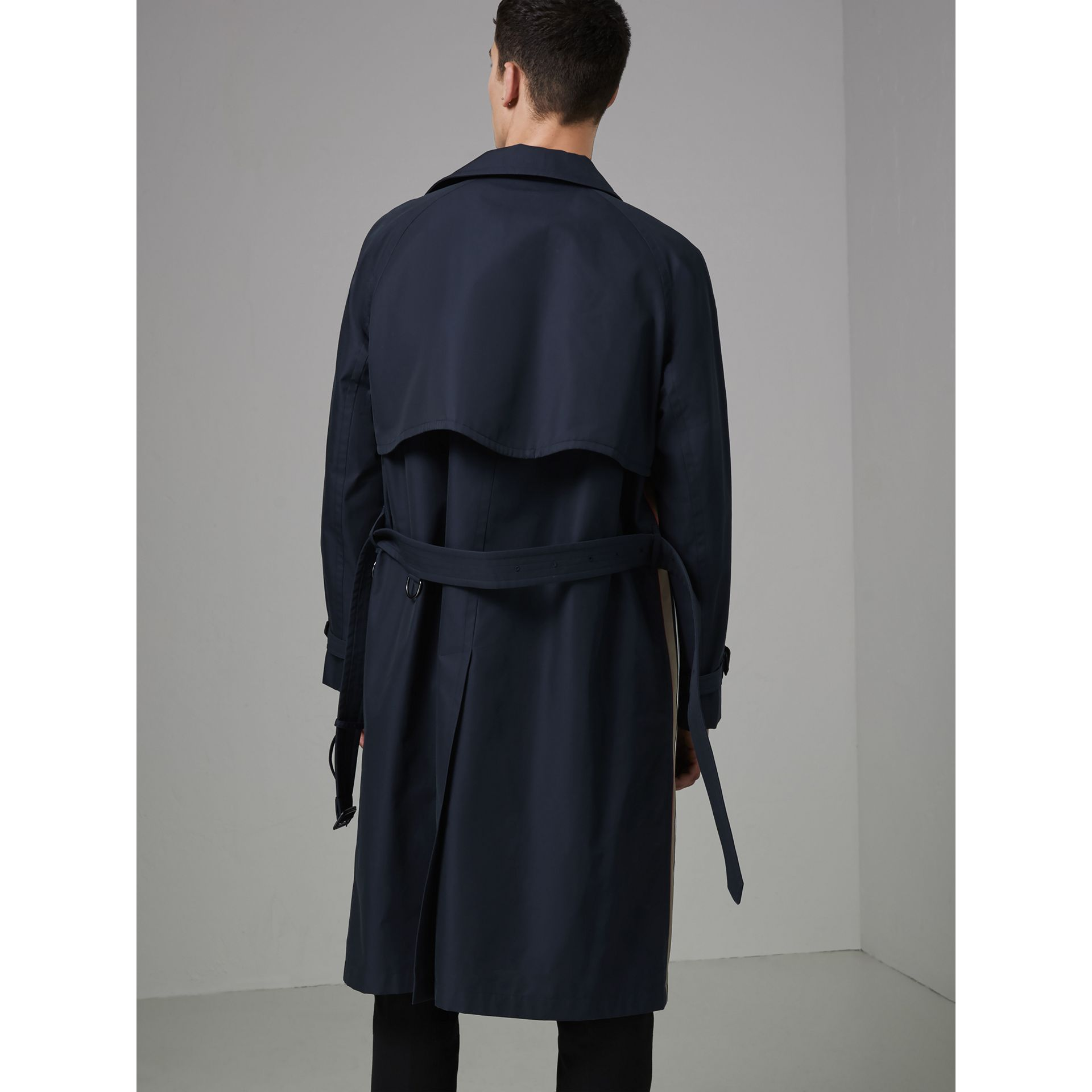 Heritage Stripe Cotton Gabardine Trench Coat in Navy - Men | Burberry - gallery image 2