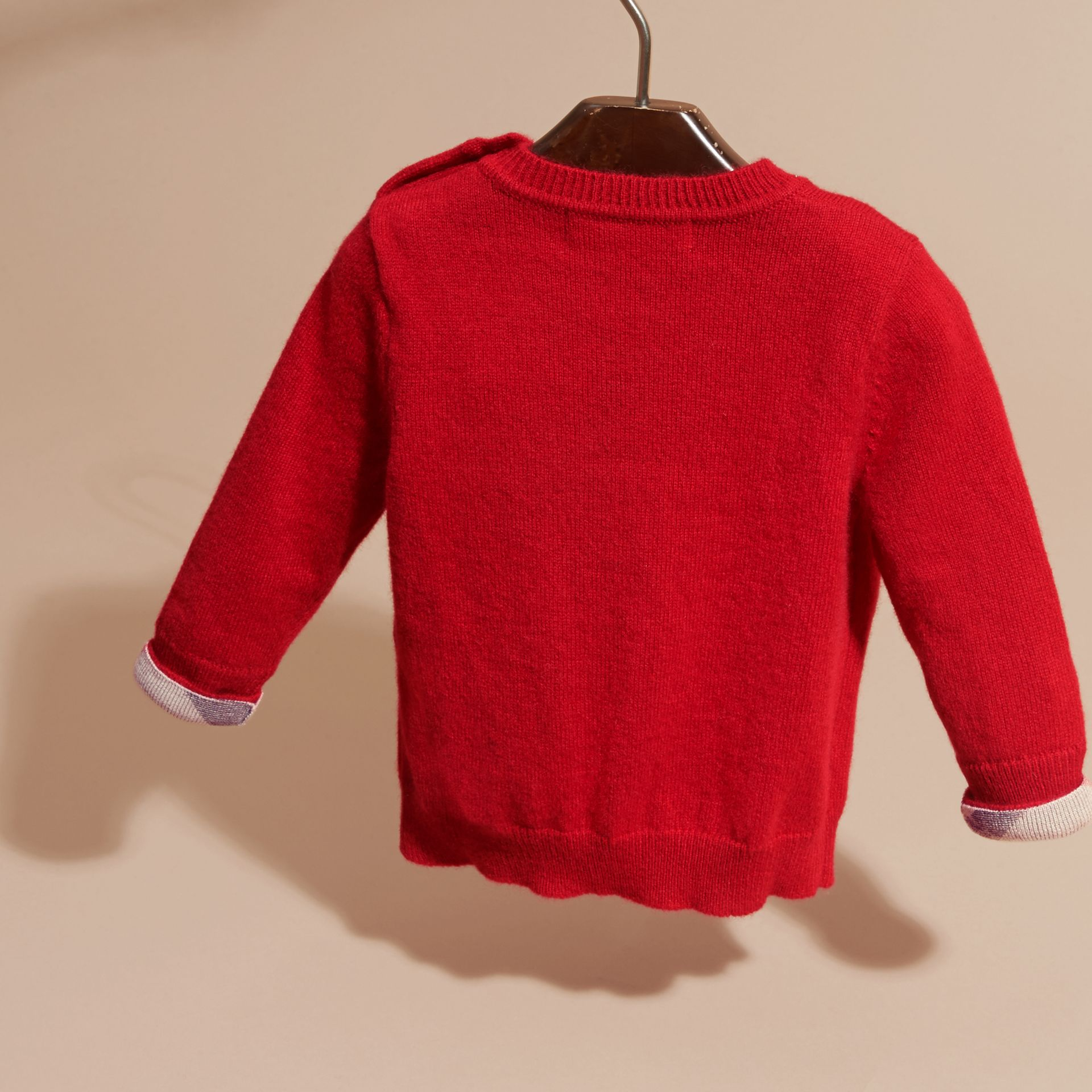 Check Detail Cashmere Sweater Parade Red - gallery image 4