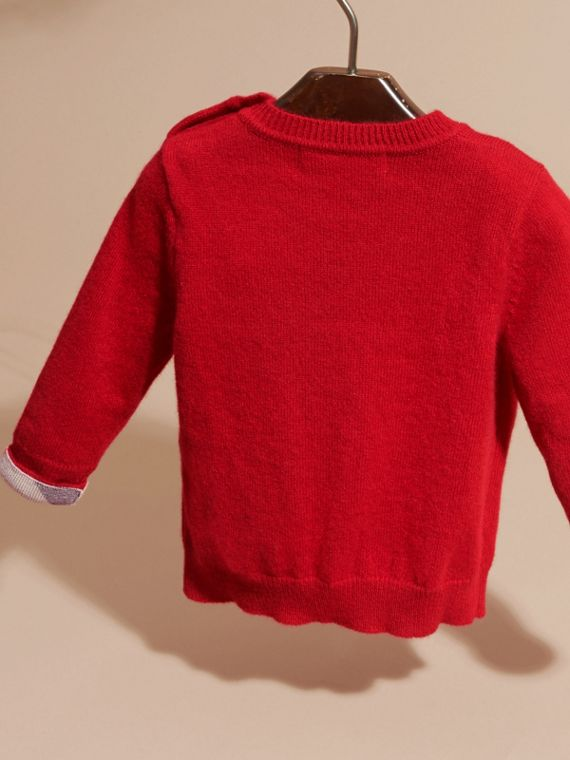 Check Detail Cashmere Sweater Parade Red - cell image 3