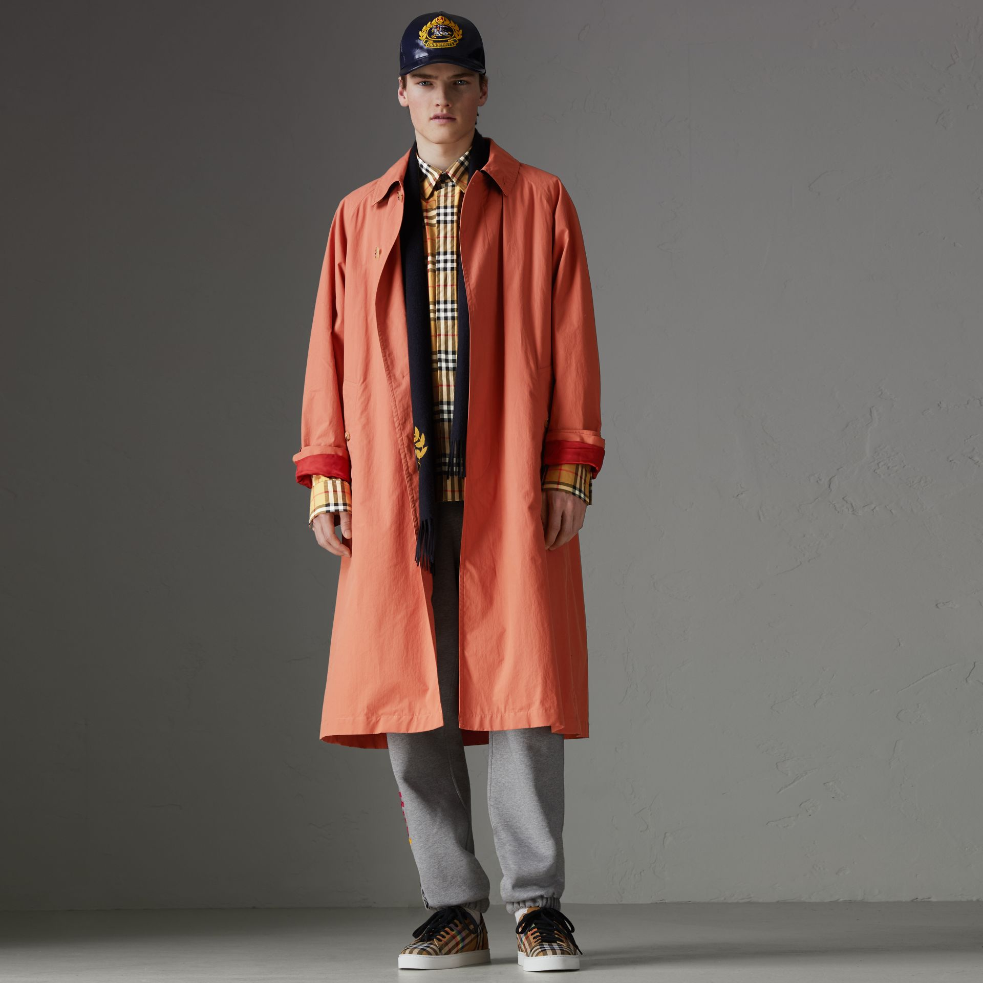Reissued Cotton Car Coat with Detachable Warmer in Coral - Men | Burberry Australia - gallery image 6