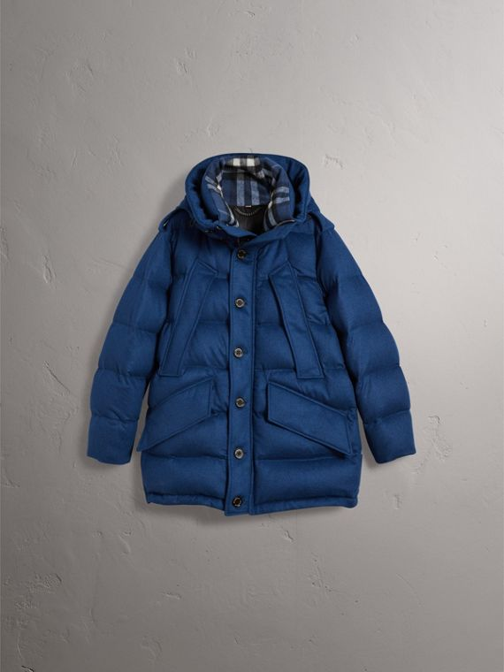Down-filled Cashmere Hooded Parka in Teal Blue Melange - Men | Burberry - cell image 3