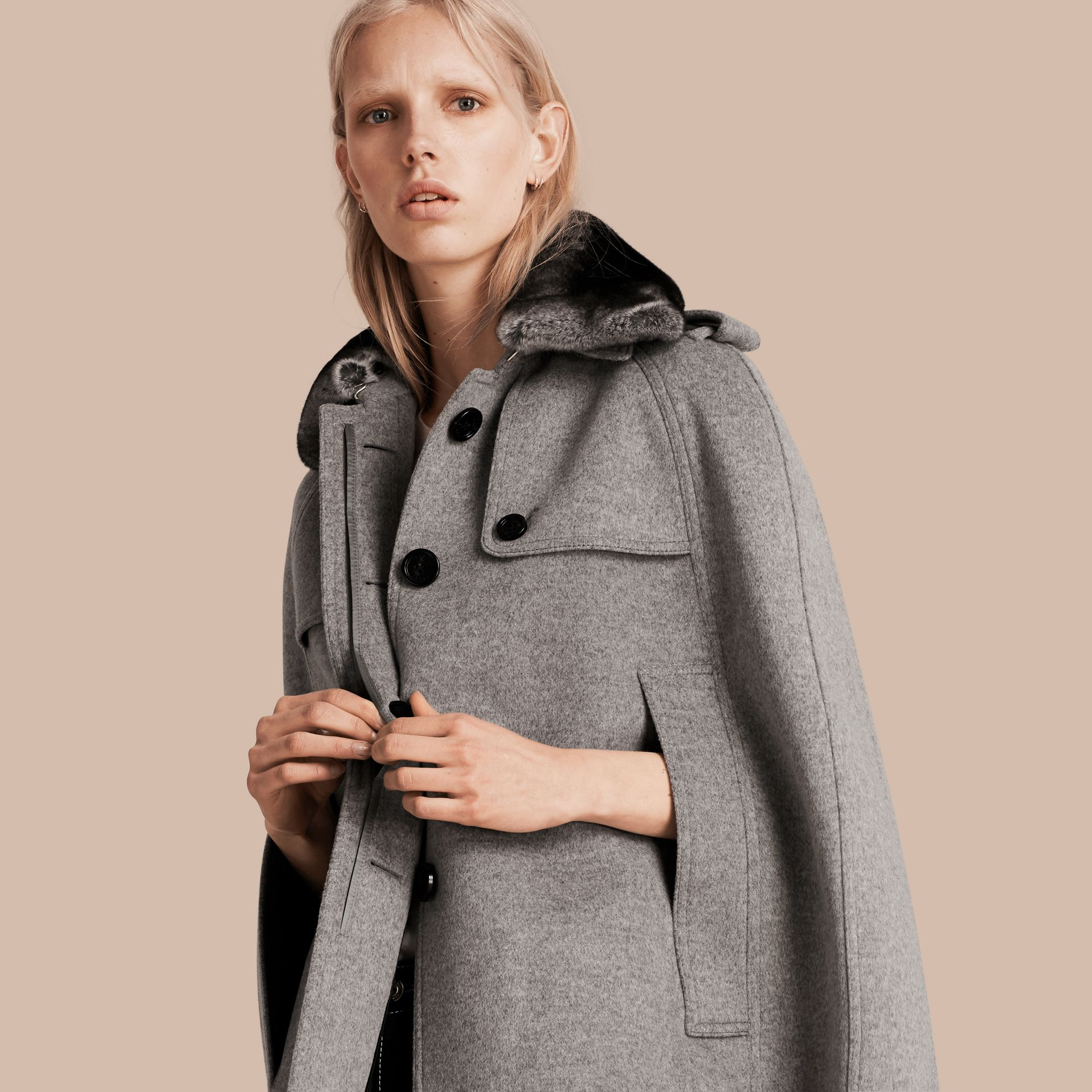Pale grey melange Wool Cashmere Trench Cape with Detachable Fur Collar - gallery image 1