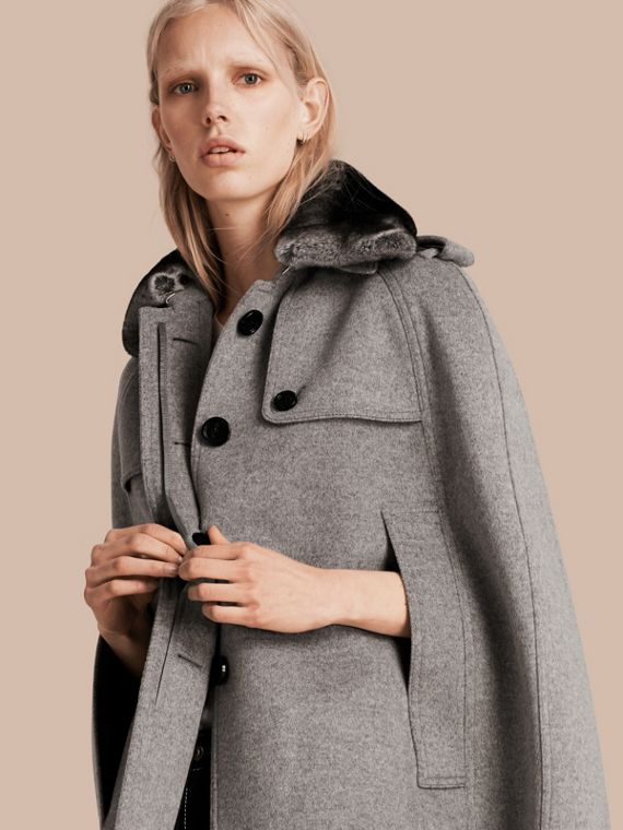 Wool Cashmere Trench Cape with Detachable Fur Collar