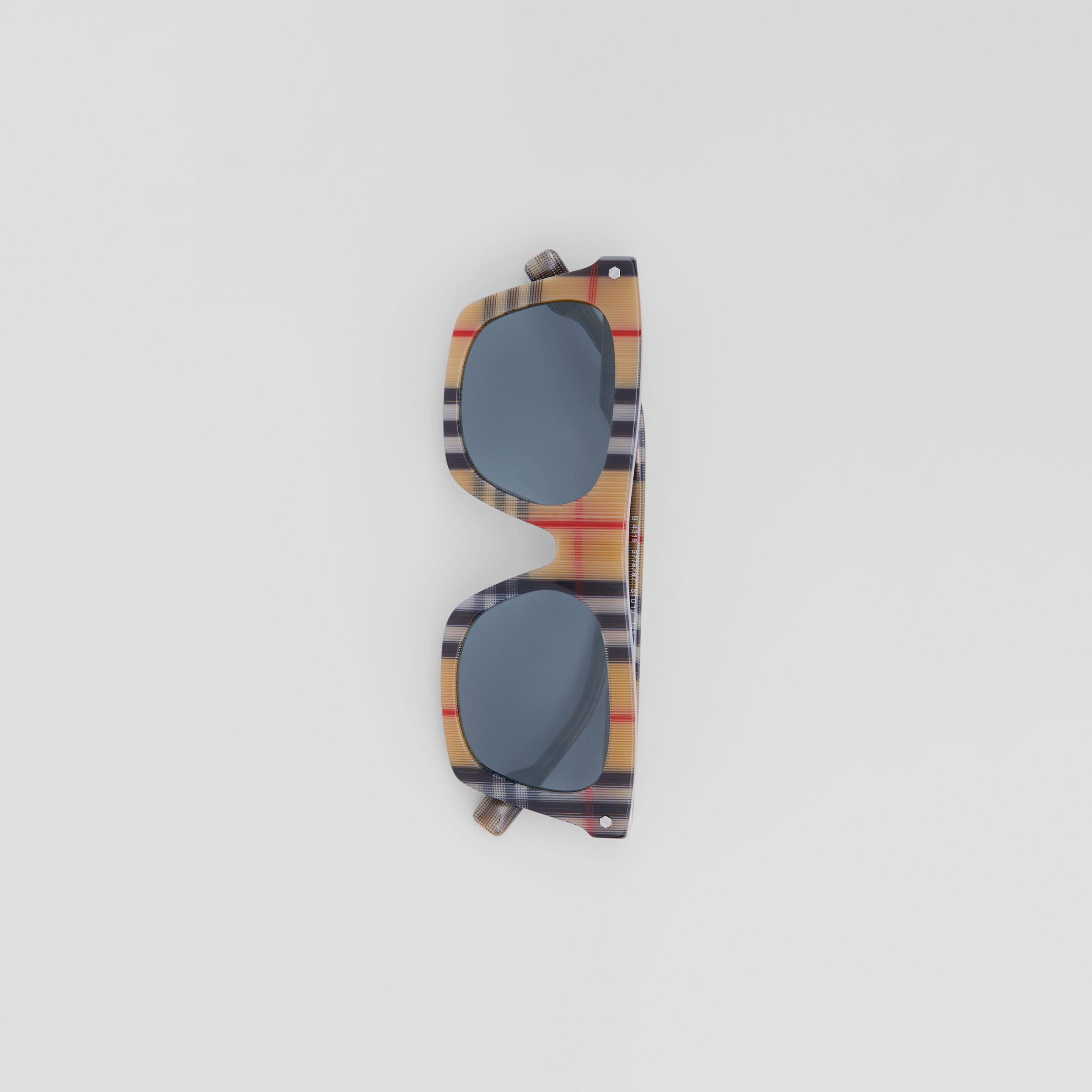 Vintage Check Rectangular Frame Sunglasses in Antique Yellow - Men | Burberry Singapore - 4