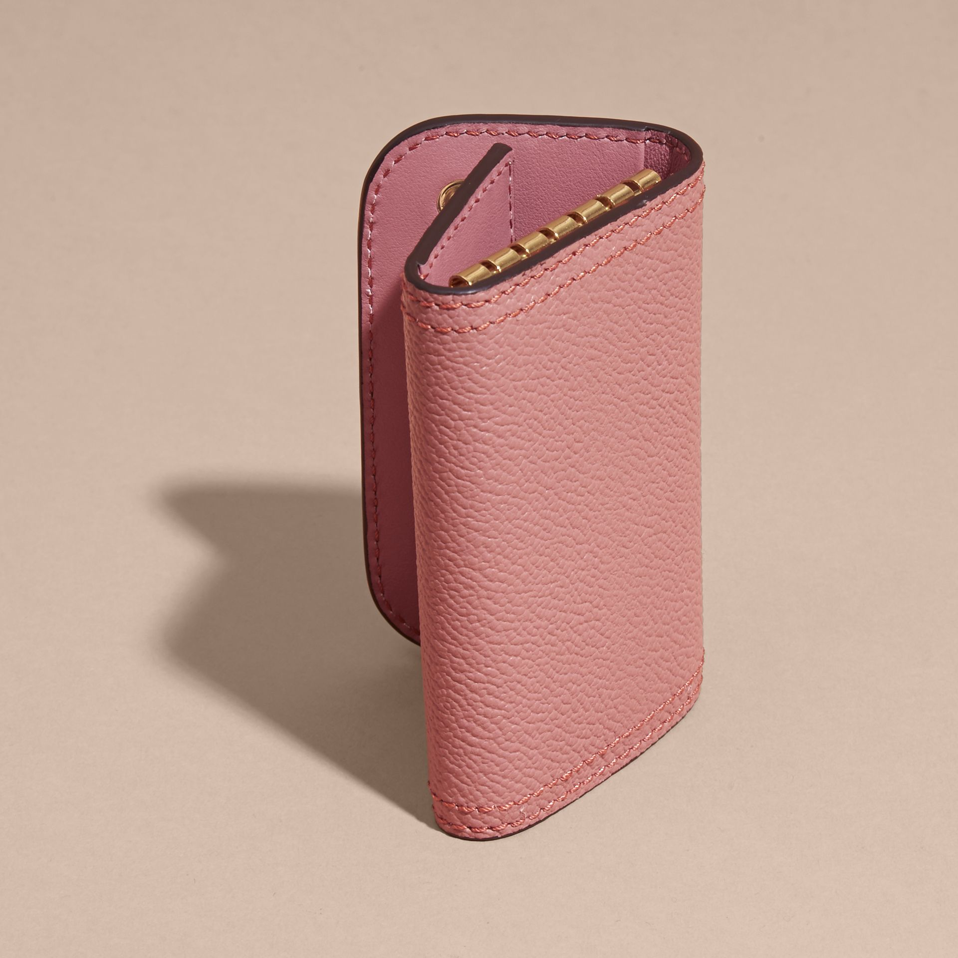 Grainy Leather Key Holder in Dusty Pink - Women | Burberry United States - gallery image 3