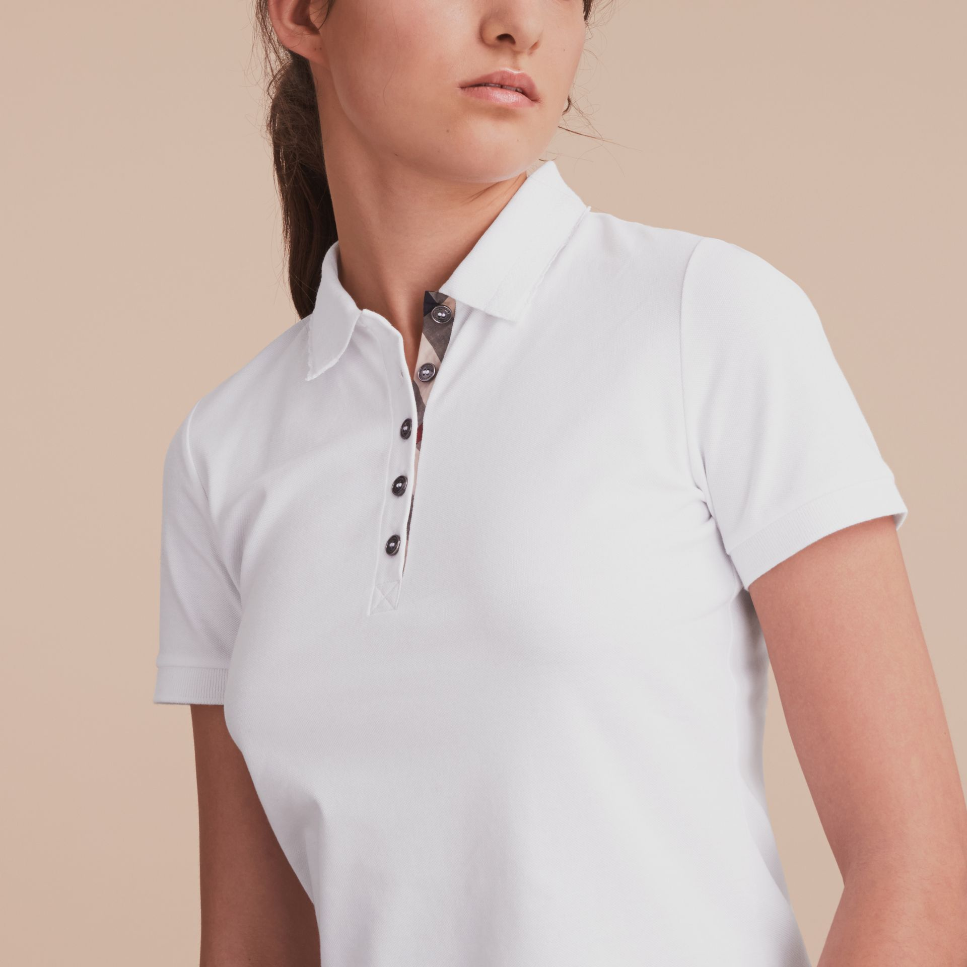 Lace Trim Cotton Blend Polo Shirt with Check Detail in White - Women | Burberry - gallery image 5