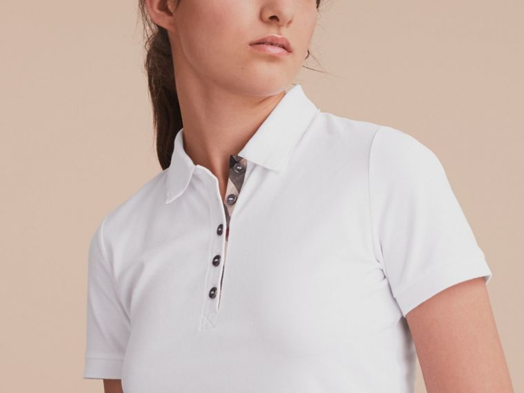 Lace Trim Cotton Blend Polo Shirt with Check Detail in White - Women | Burberry - cell image 4