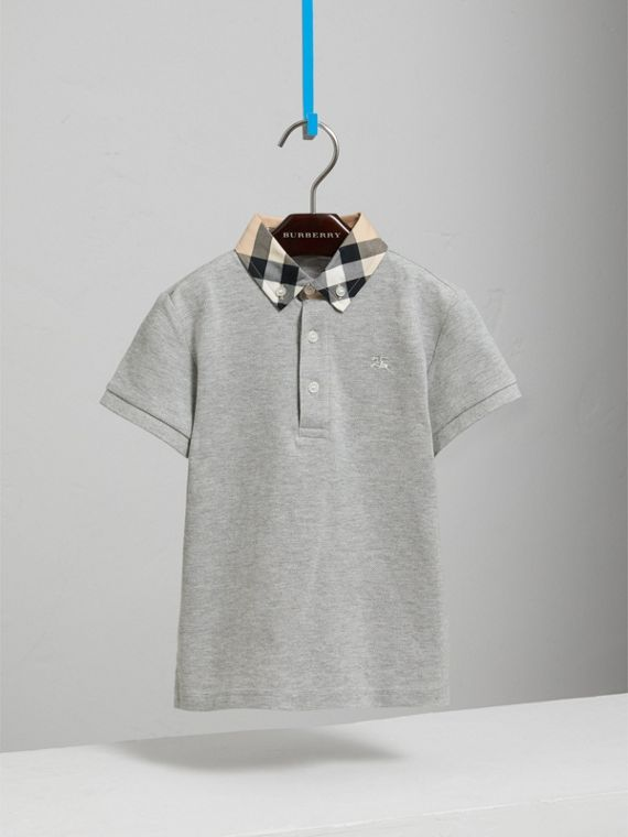 Check Collar Polo Shirt in Pale Grey Melange