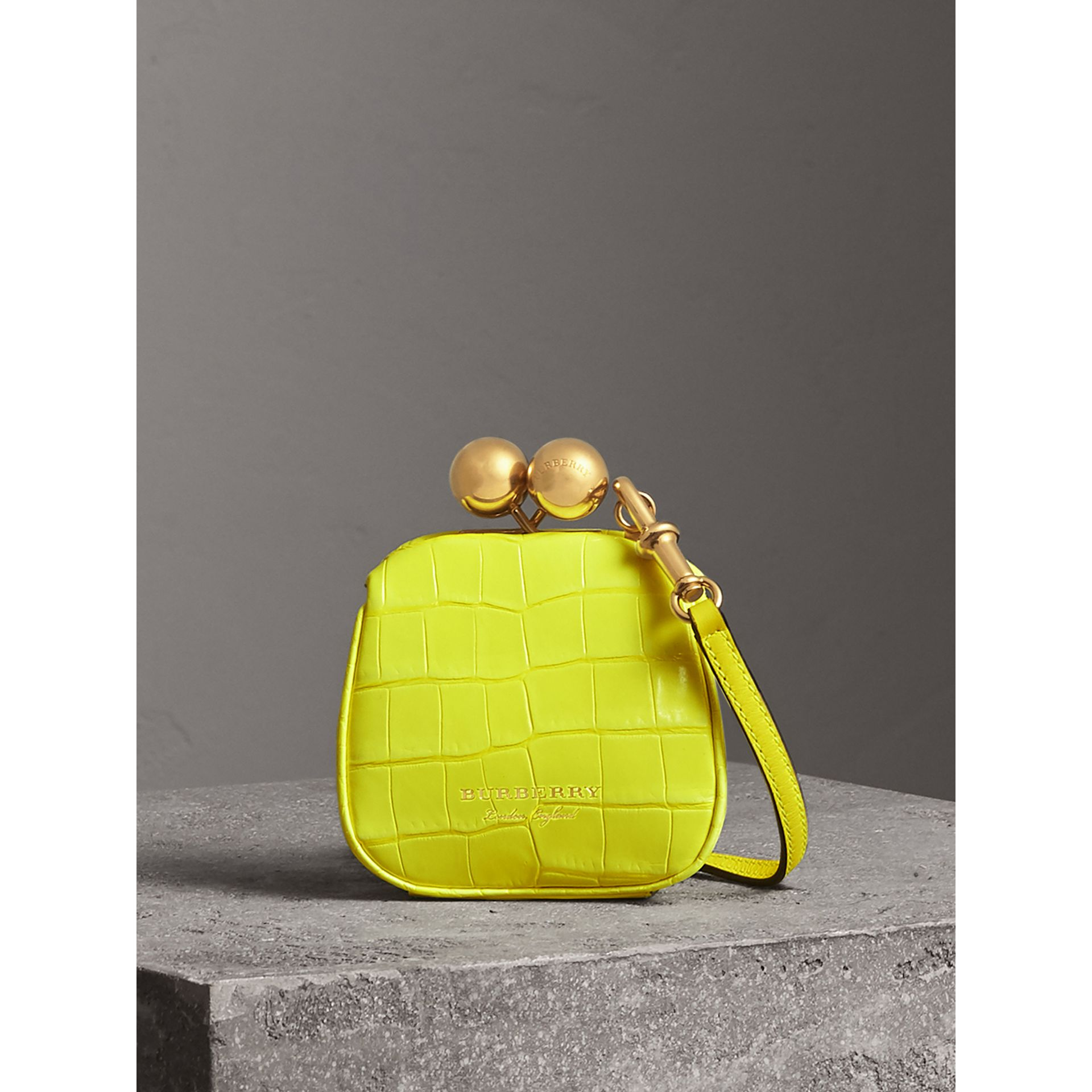 Mini Alligator Metal Frame Clutch Bag in Neon Yellow - Women | Burberry - gallery image 0