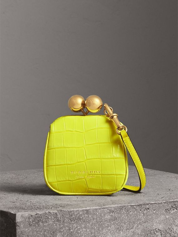 Mini Alligator Metal Frame Clutch Bag in Neon Yellow