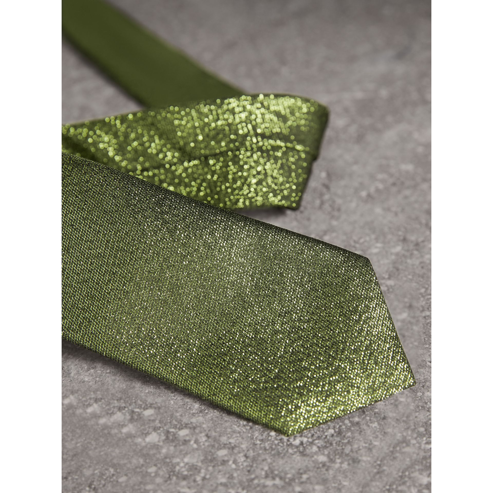 Slim Cut Metallic Silk Blend Tie in Tourmaline Green - Men | Burberry - gallery image 2