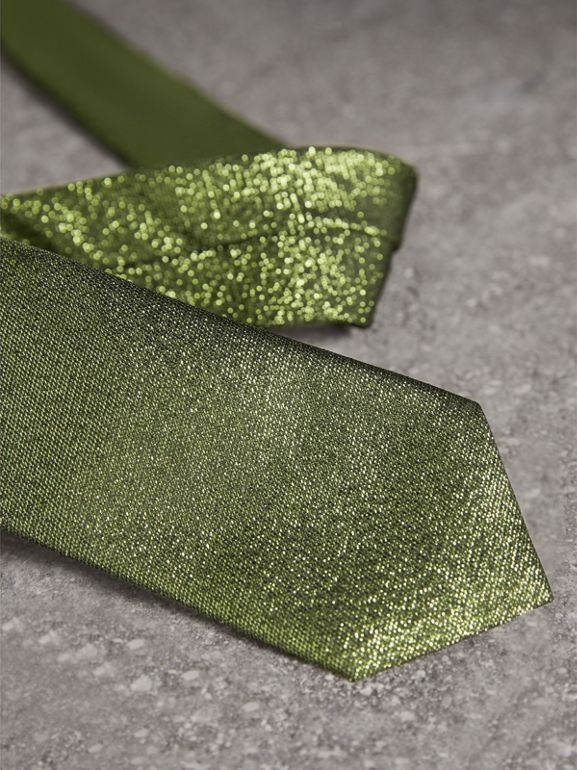 Slim Cut Metallic Silk Blend Tie in Tourmaline Green - Men | Burberry - cell image 1