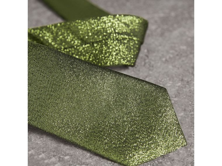 Slim Cut Metallic Silk Blend Tie in Tourmaline Green - Men | Burberry - cell image 1