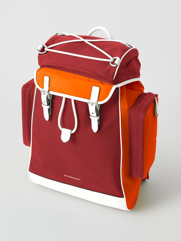Tri-tone Nylon and Leather Backpack in Parade Red - Men | Burberry Australia - cell image 2