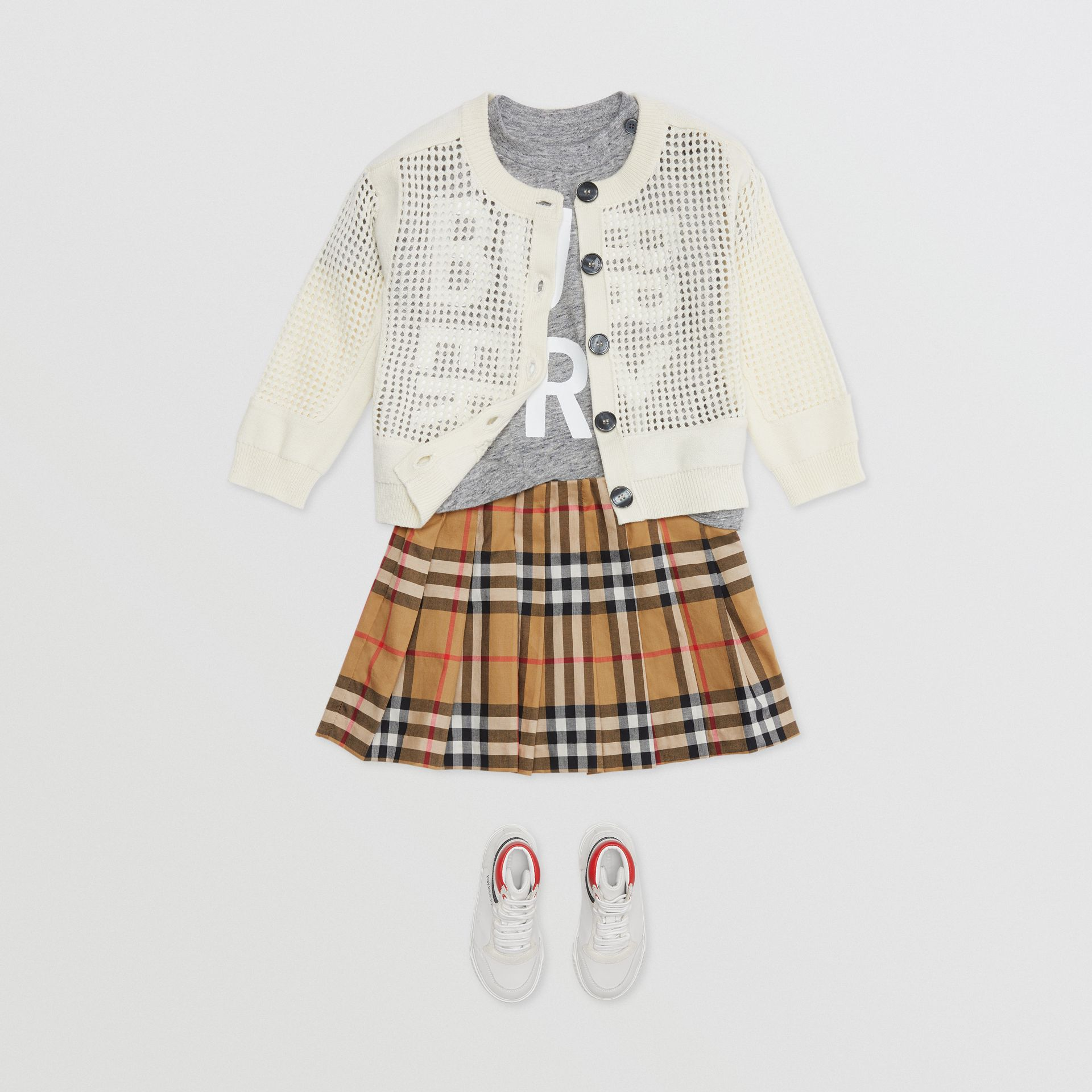 Jupe plissée à motif Vintage check (Jaune Antique) - Enfant | Burberry Canada - photo de la galerie 2