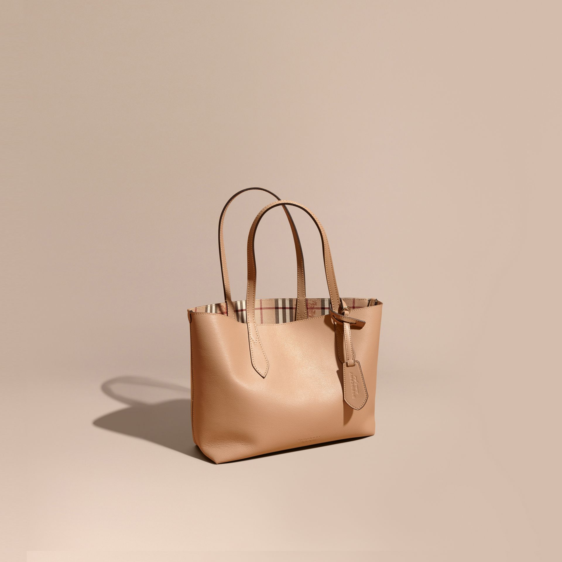 The Small Reversible Tote in Haymarket Check and Leather Mid Camel - gallery image 1