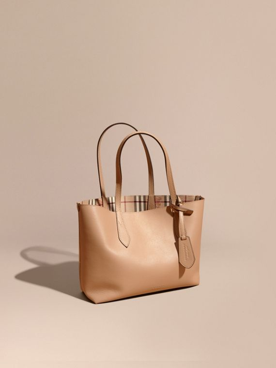 The Small Reversible Tote in Haymarket Check and Leather in Mid Camel
