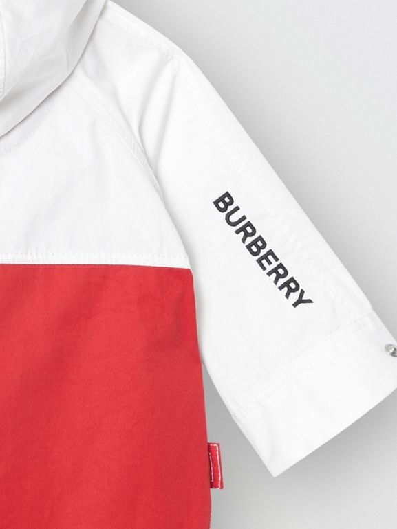 Topstitched Cotton Hooded Jacket in White - Children | Burberry - cell image 1