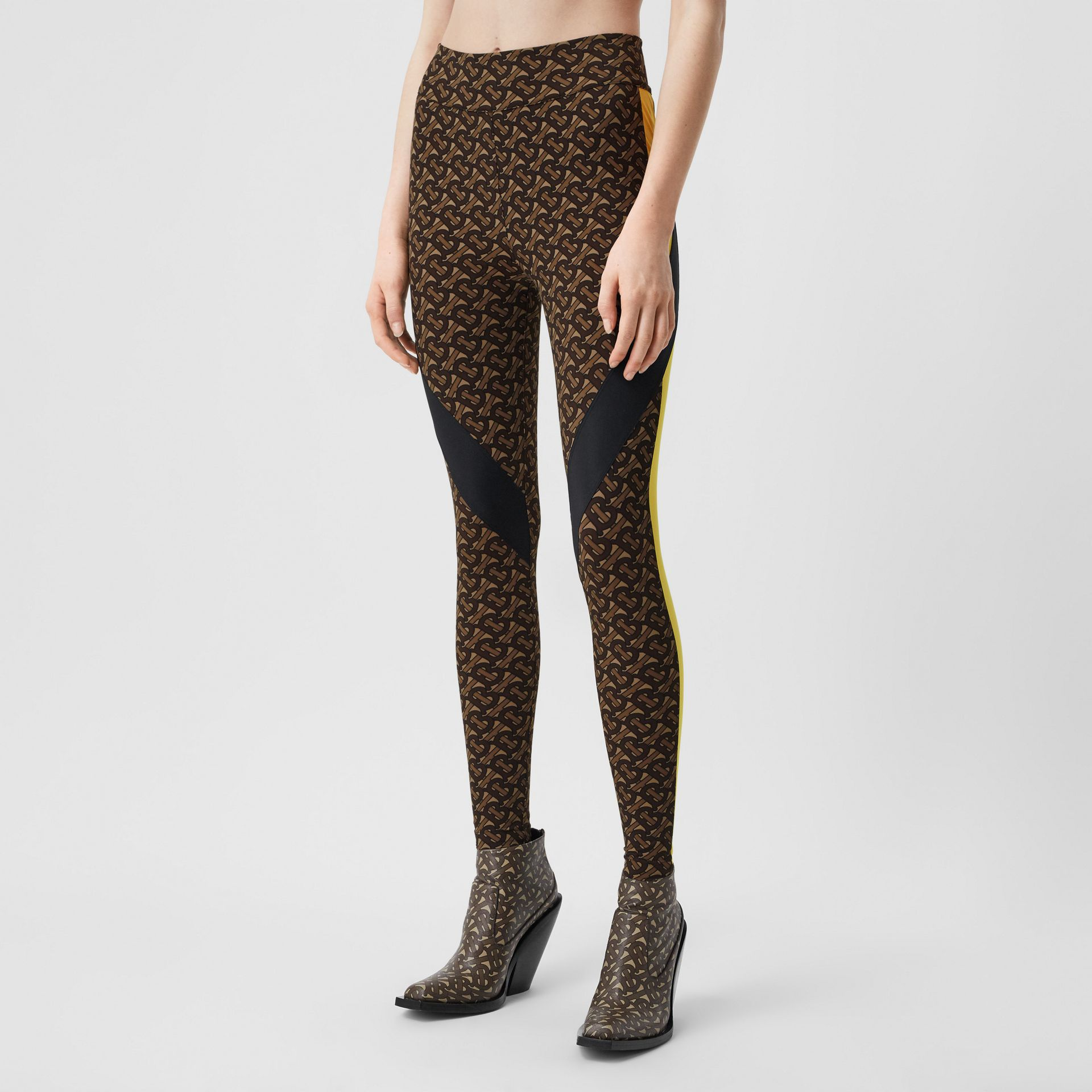 Colour Block Monogram Print Stretch Jersey Leggings in Bridle Brown - Women | Burberry United Kingdom - gallery image 4