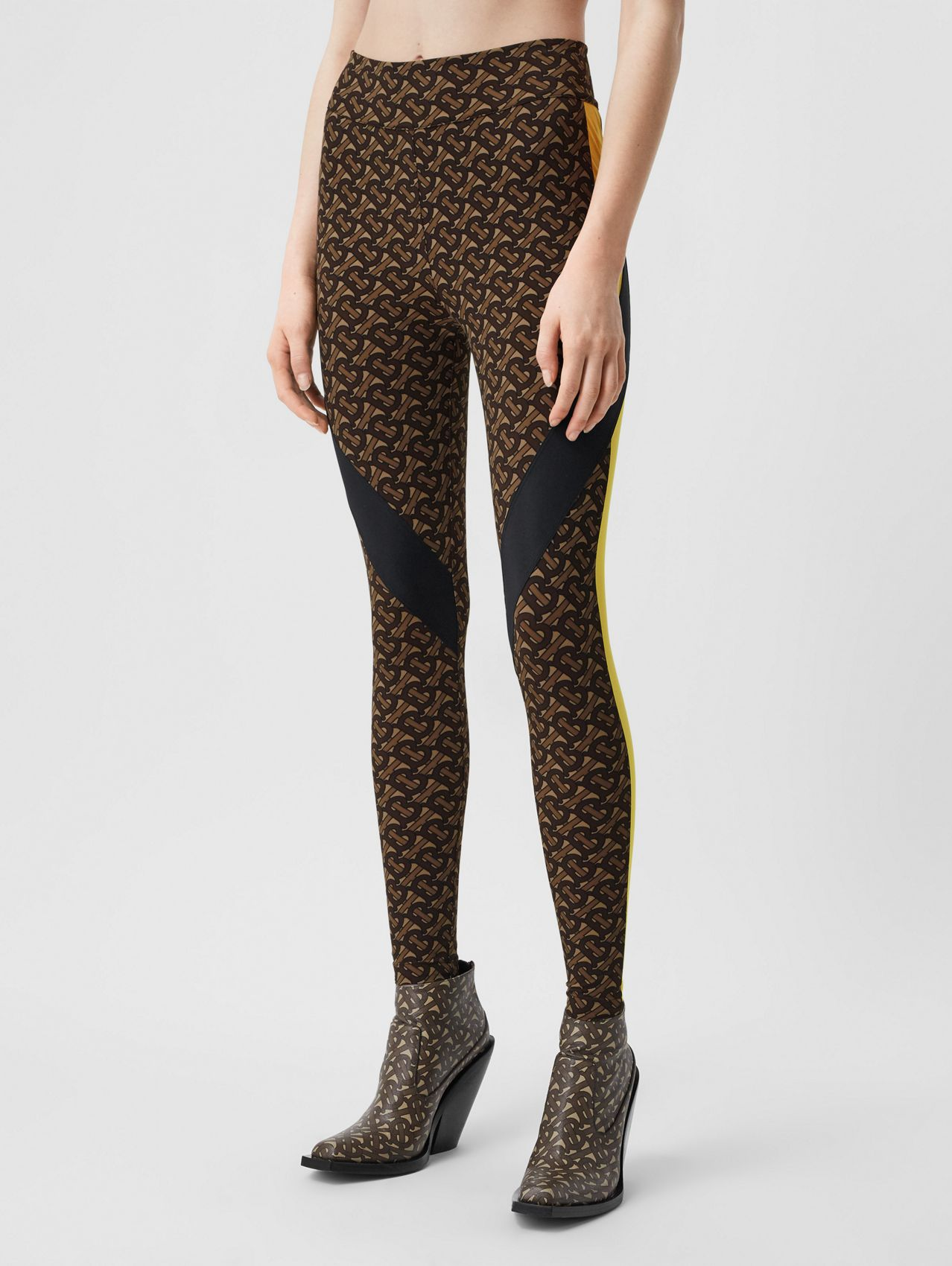 Colour Block Monogram Print Stretch Jersey Leggings in Bridle Brown