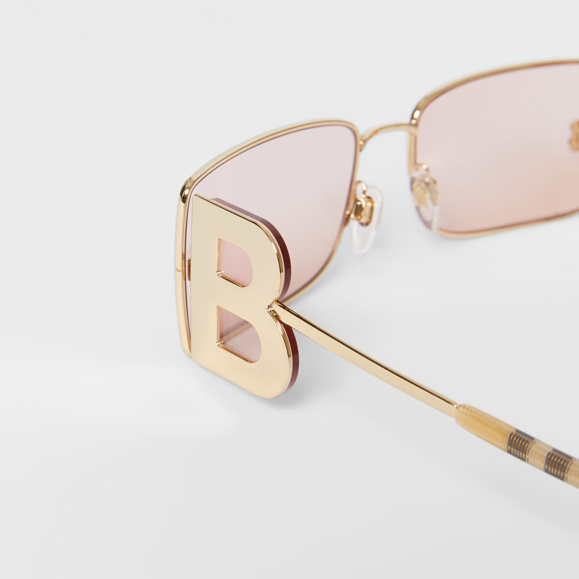 'B' Lens Detail Rectangular Frame Sunglasses in Gold - Women | Burberry - gallery image 1