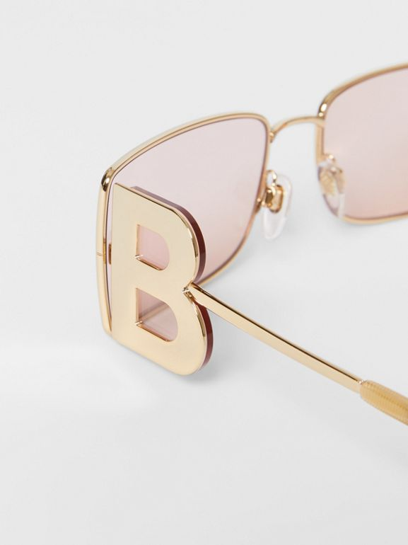 'B' Lens Detail Rectangular Frame Sunglasses in Gold - Women | Burberry - cell image 1