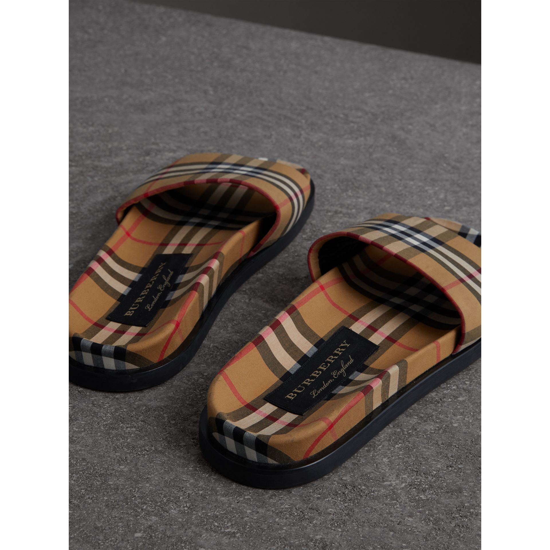 Vintage Check Slides in Antique Yellow - Men | Burberry United States - gallery image 2