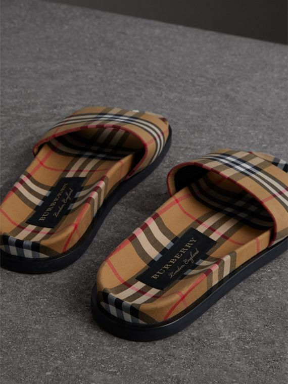 Vintage Check Slides in Antique Yellow - Men | Burberry United States - cell image 2