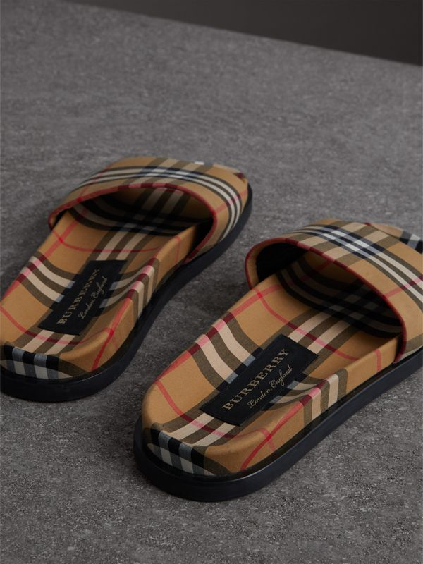 Vintage Check Slides in Antique Yellow - Men | Burberry - cell image 2