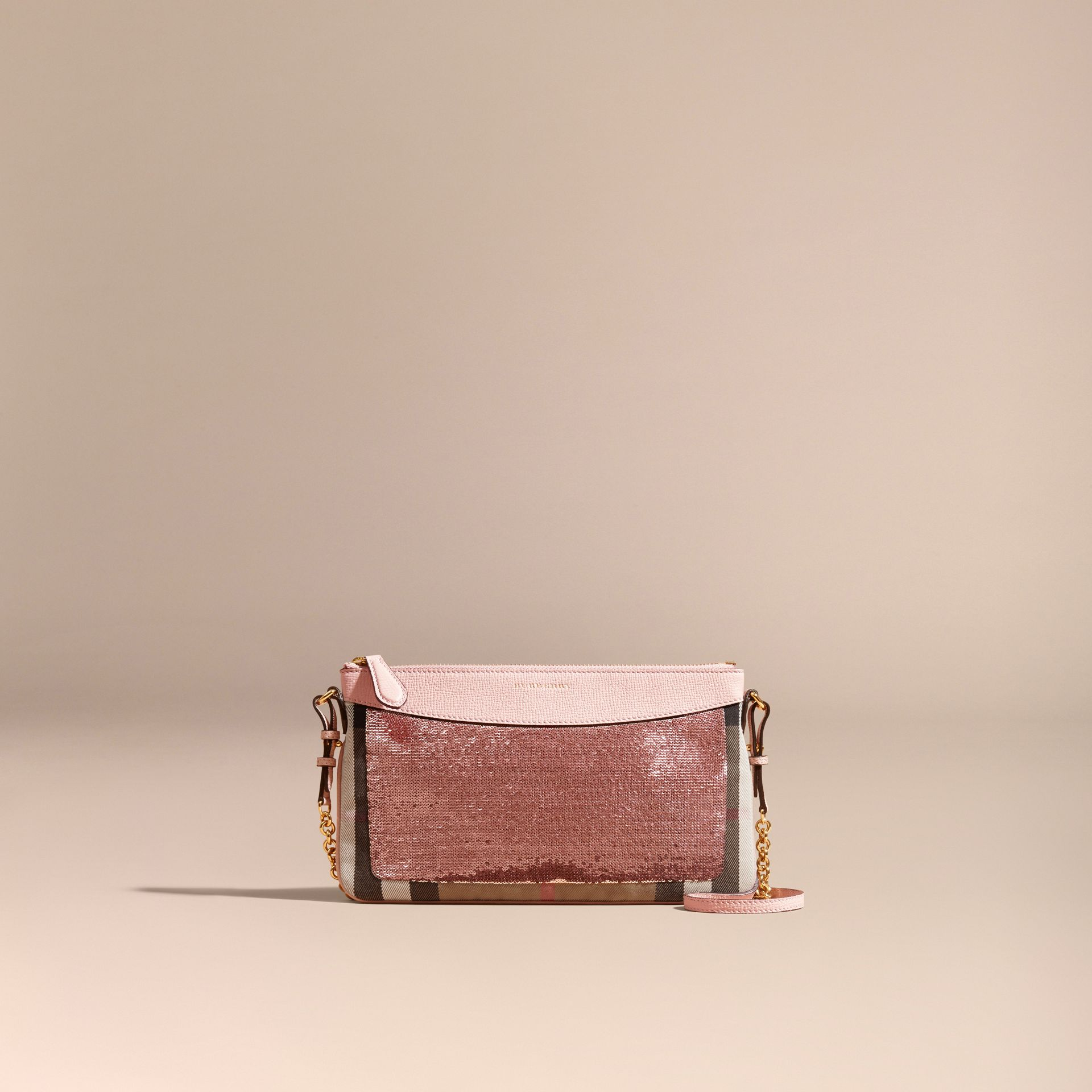 Light pink/ black Leather, Sequin and Check Clutch Bag Light Pink/ Black - gallery image 9