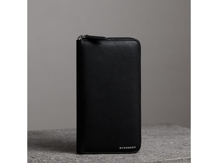Grainy Leather Ziparound Wallet in Black - Men | Burberry - cell image 4