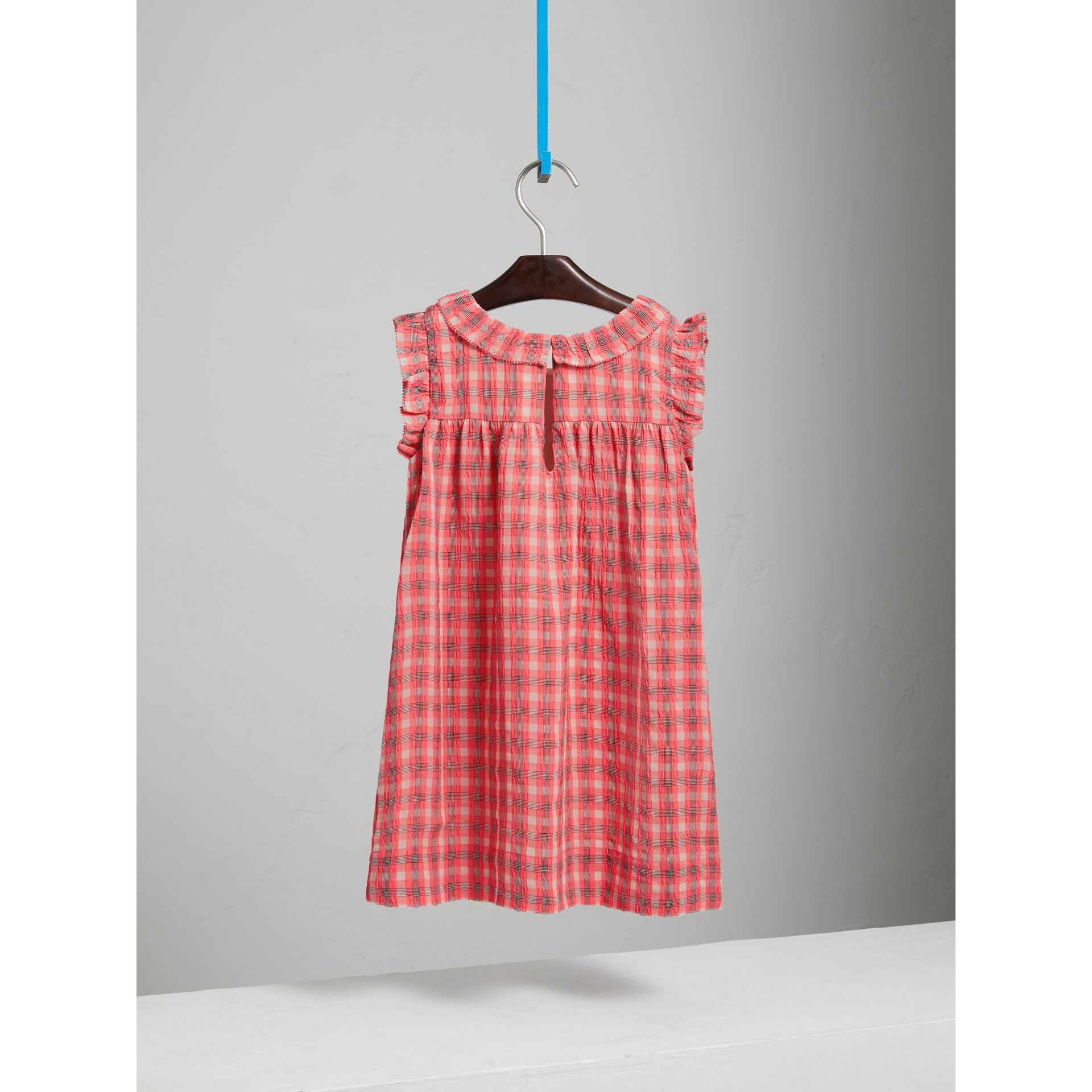 Sleeveless Check Seersucker Dress in Bright Coral Pink - Children | Burberry - gallery image 3