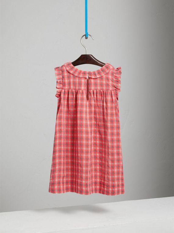 Sleeveless Check Seersucker Dress in Bright Coral Pink - Girl | Burberry - cell image 3