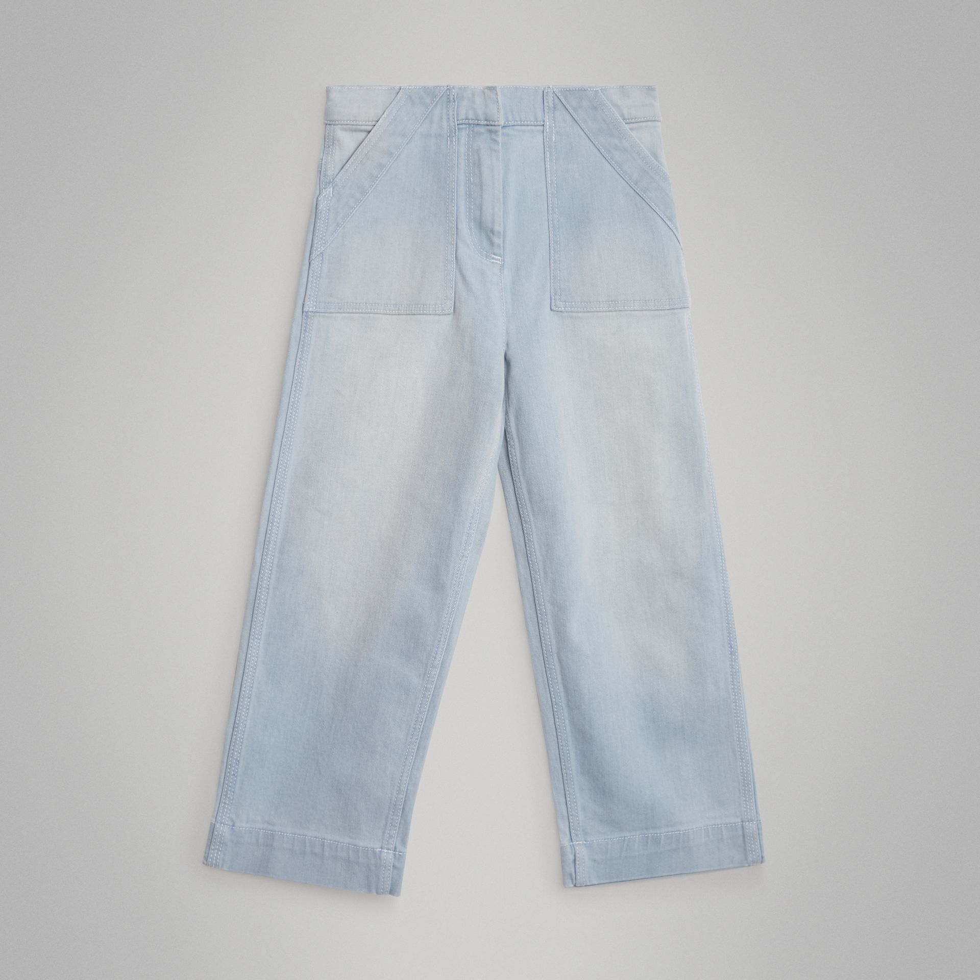 Relaxed Fit Bleached Jeans in Light Blue | Burberry United Kingdom - gallery image 0