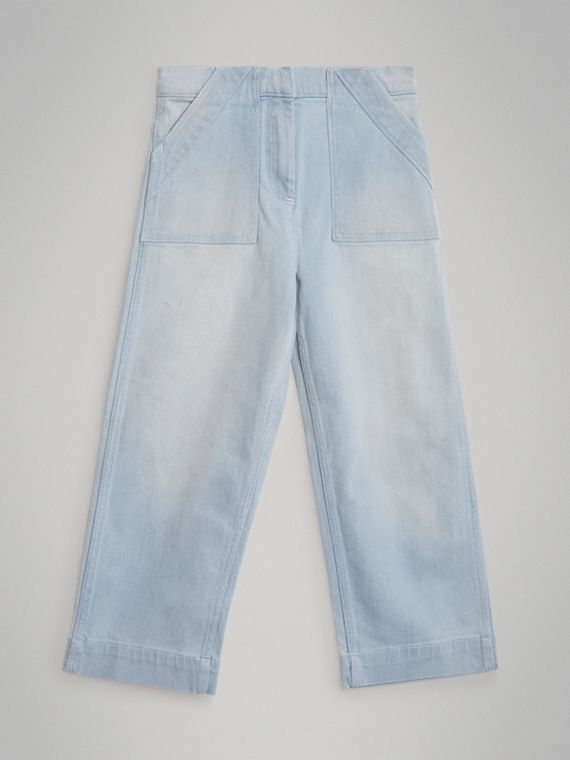 Relaxed Fit Bleached Jeans in Light Blue