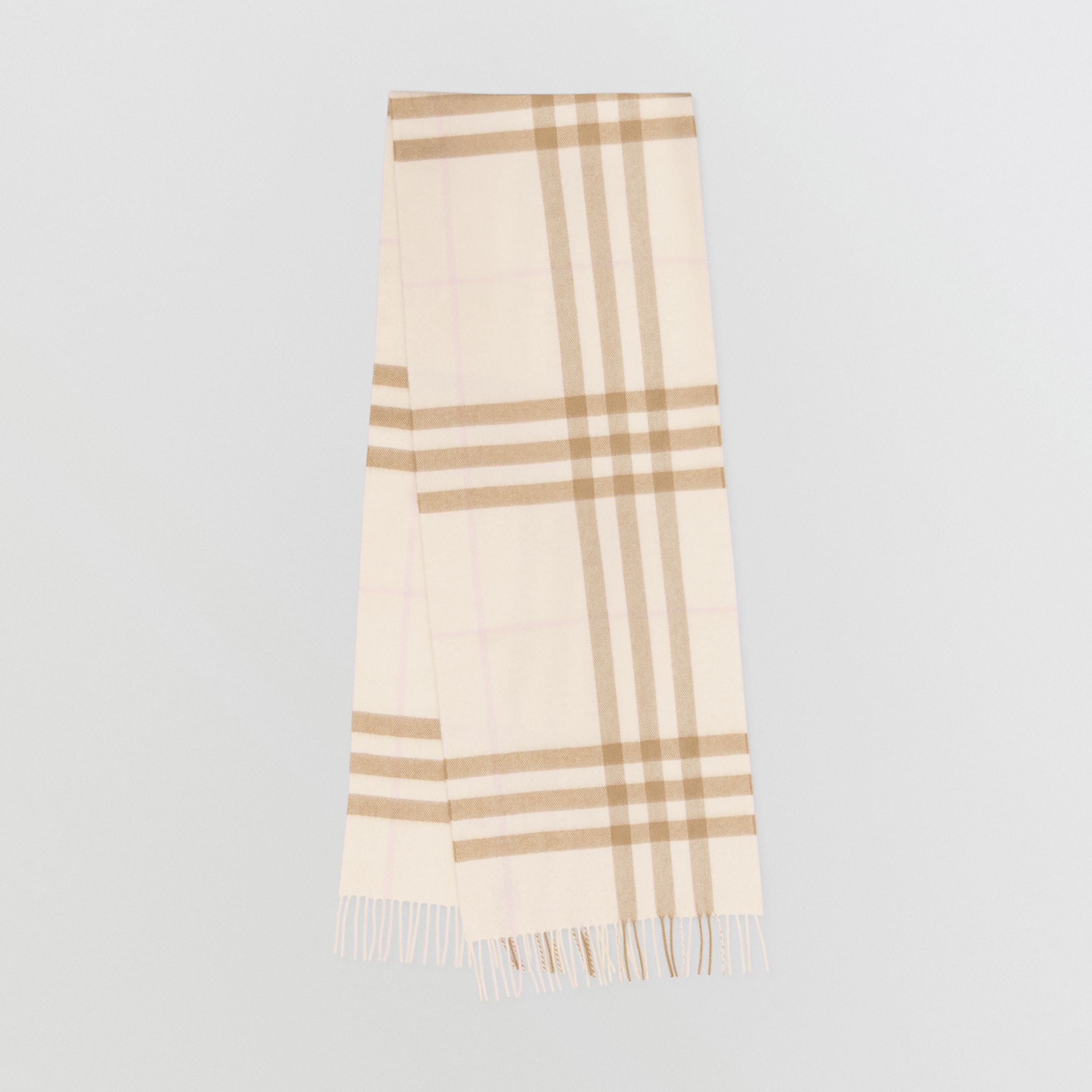 The Classic Check Cashmere Scarf in White / Alabaster | Burberry - 1