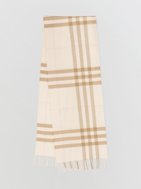The Classic Check Cashmere Scarf in White/alabaster
