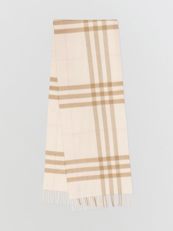 Écharpe classique en cachemire check (Blanc/albâtre)