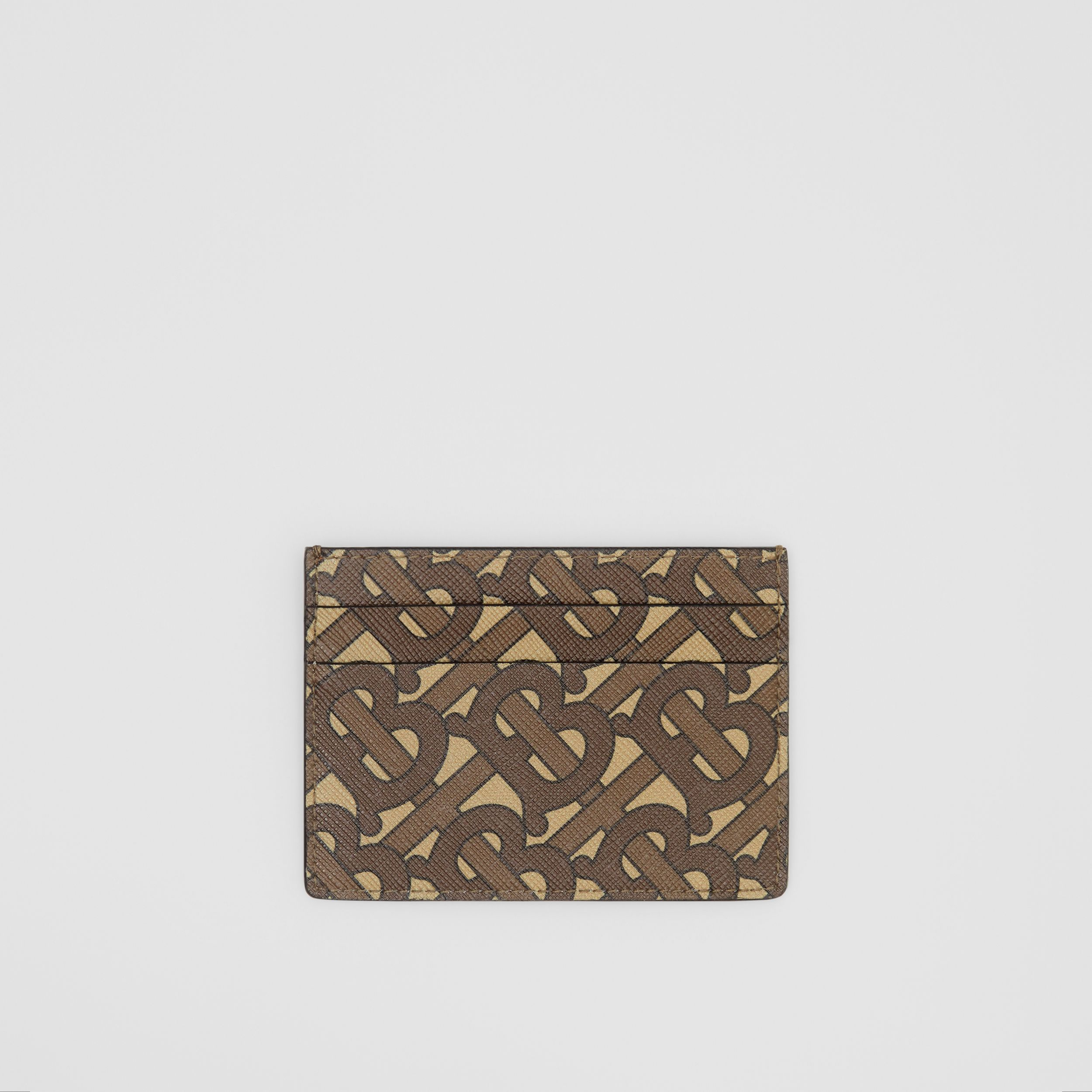 Monogram Print E-canvas Card Case in Bridle Brown | Burberry - 1