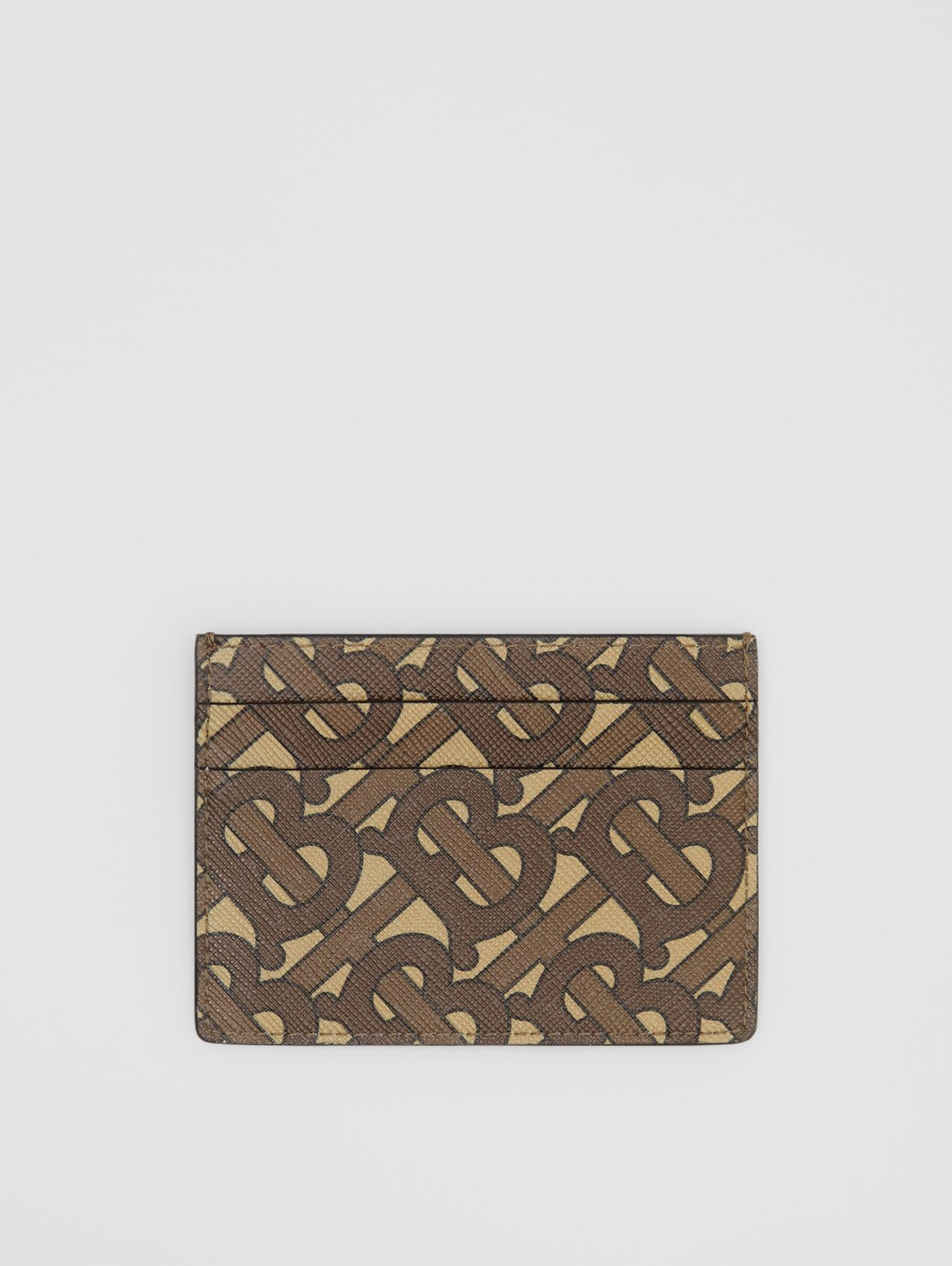 Monogram Print E-canvas Card Case in Bridle Brown