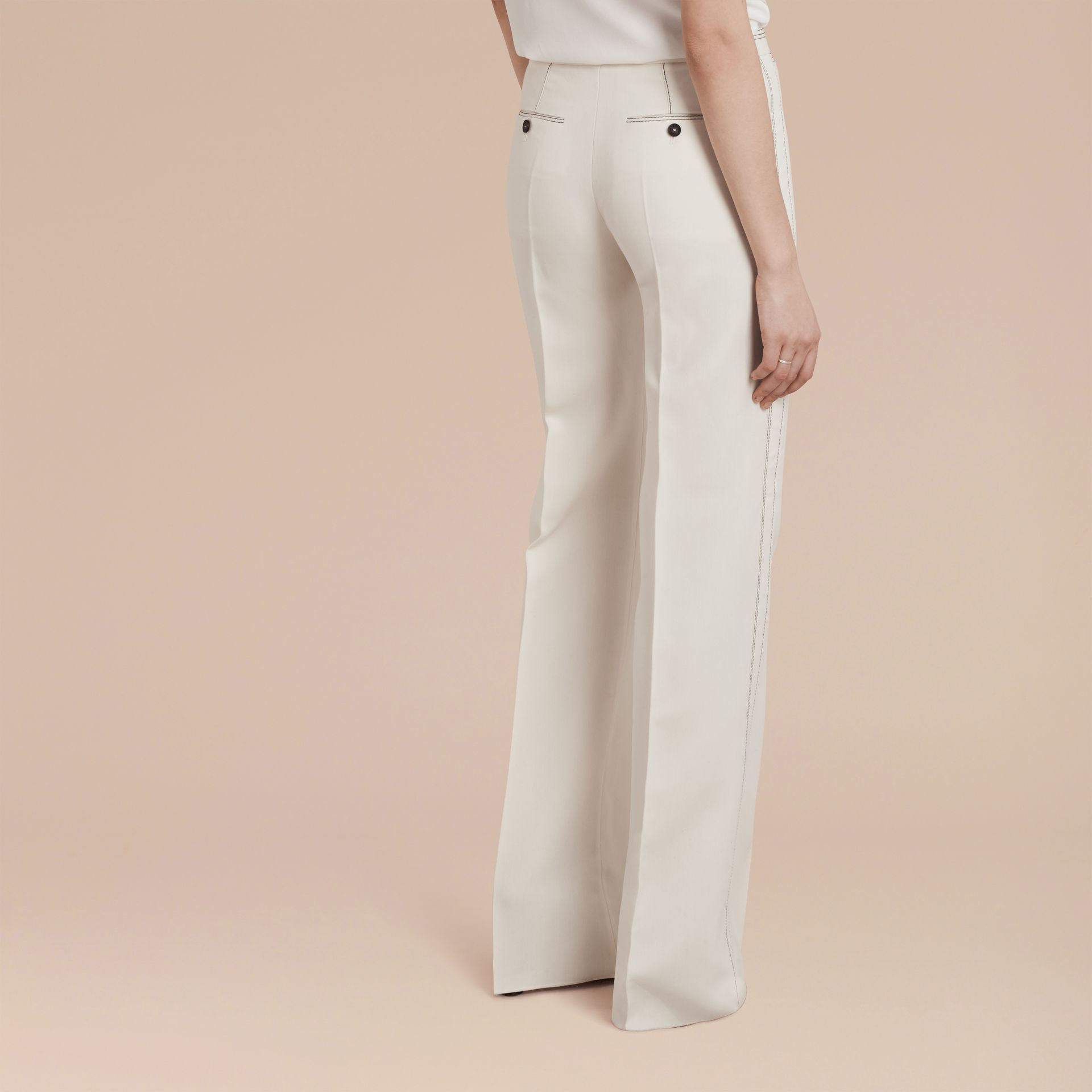 White Wool Silk Wide Leg Trousers - gallery image 3