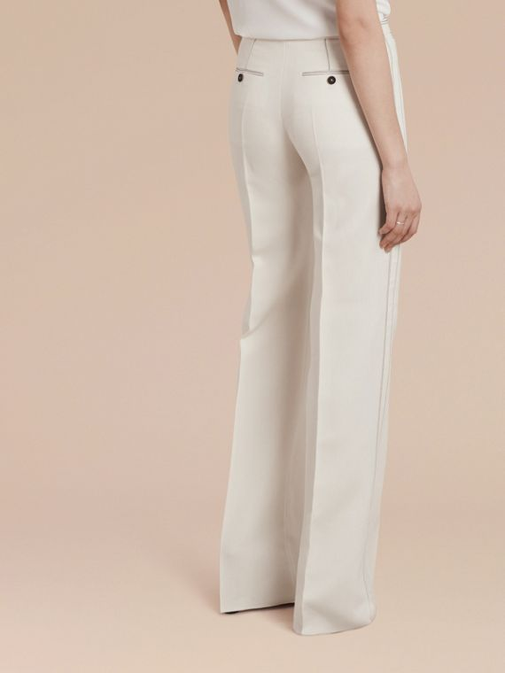 White Wool Silk Wide Leg Trousers - cell image 2