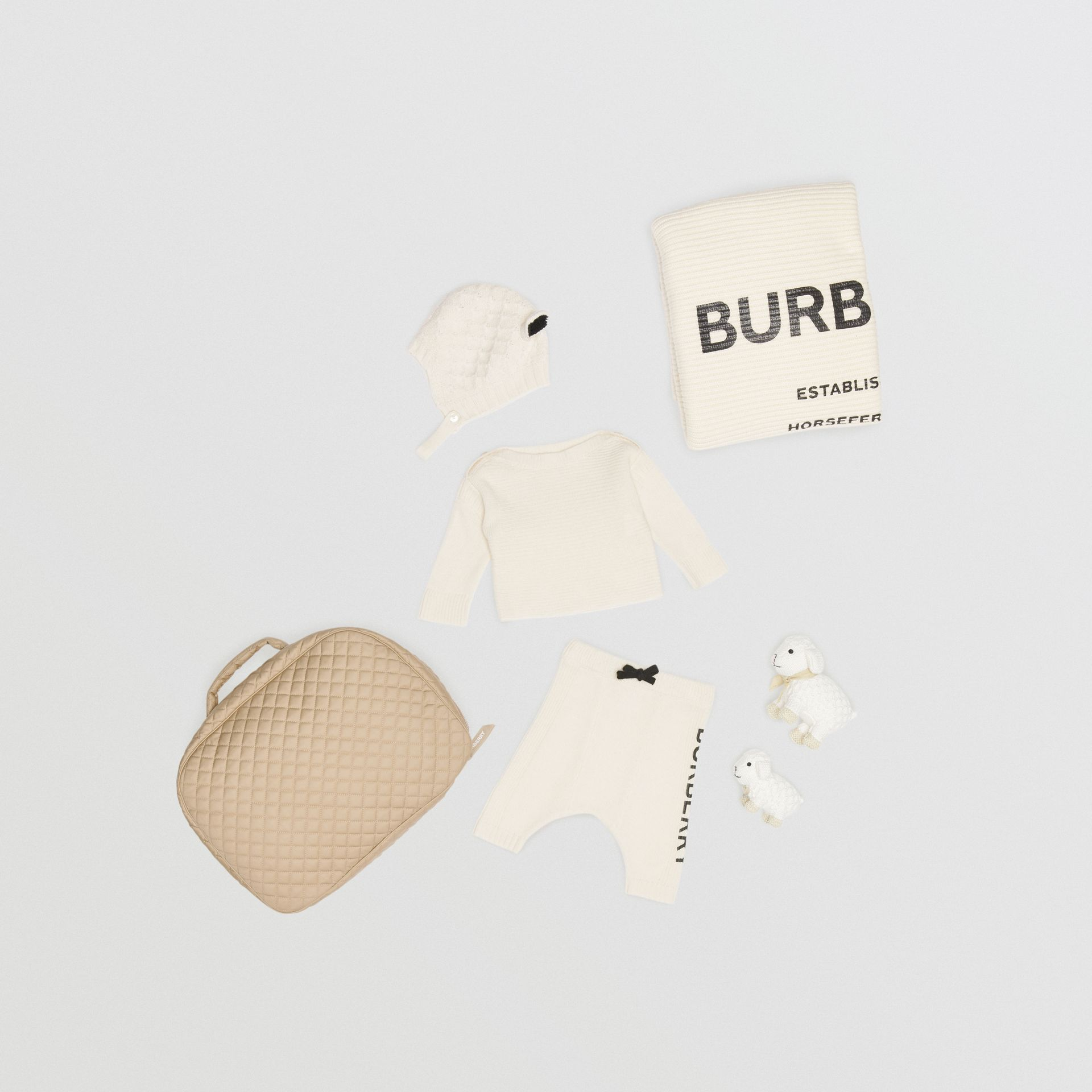 Logo Print Wool Cashmere Six-piece Baby Gift Set in Ivory - Children | Burberry - gallery image 0