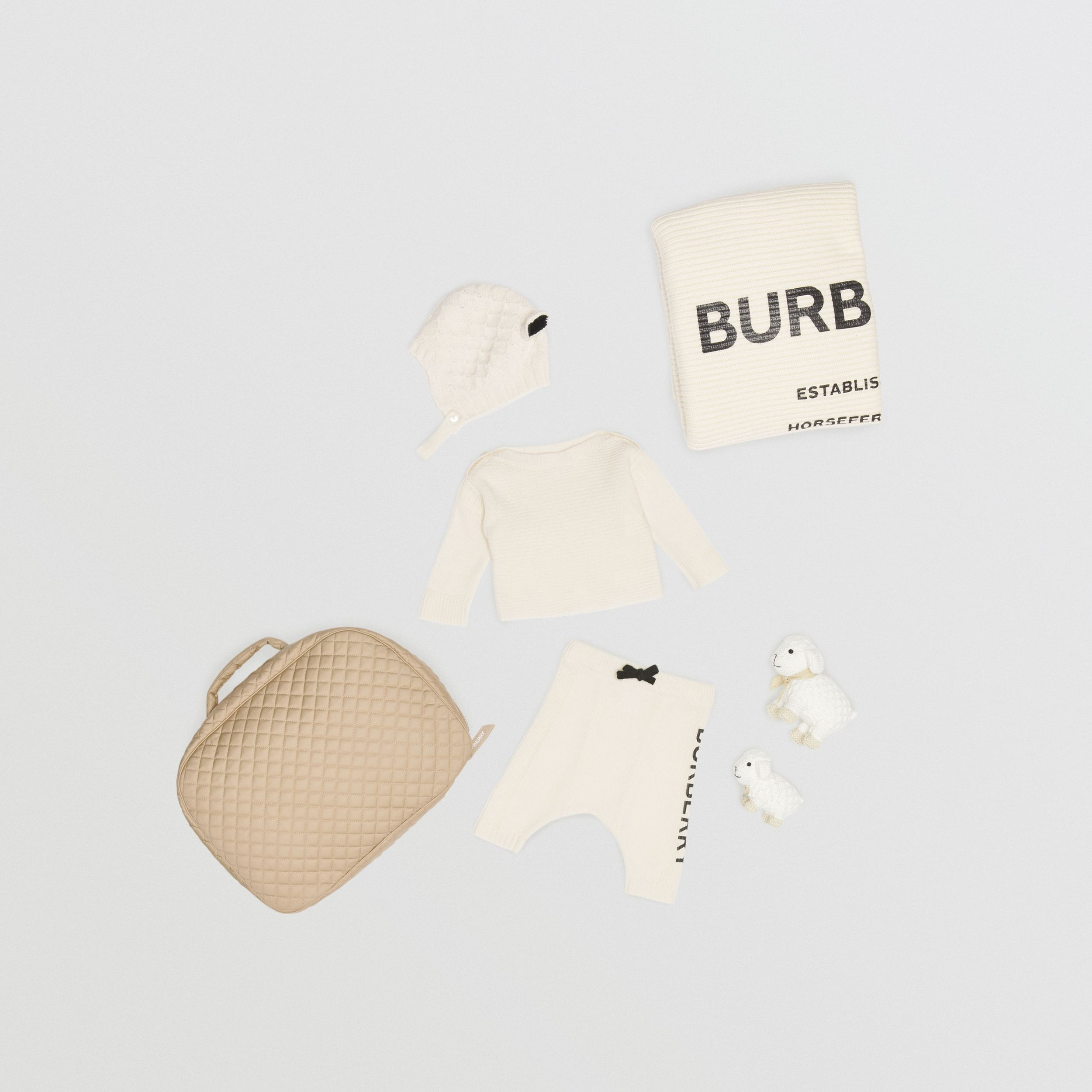 Logo Print Wool Cashmere Six-piece Baby Gift Set in Ivory | Burberry - 1