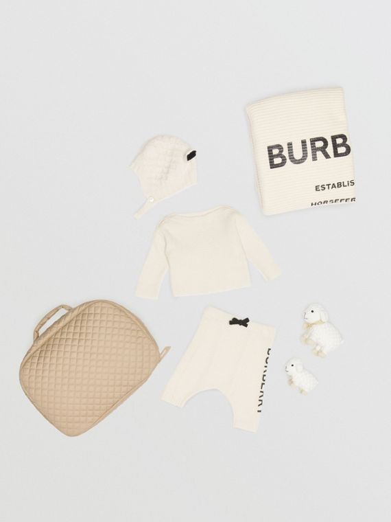 Logo Print Wool Cashmere Six-piece Baby Gift Set in Ivory
