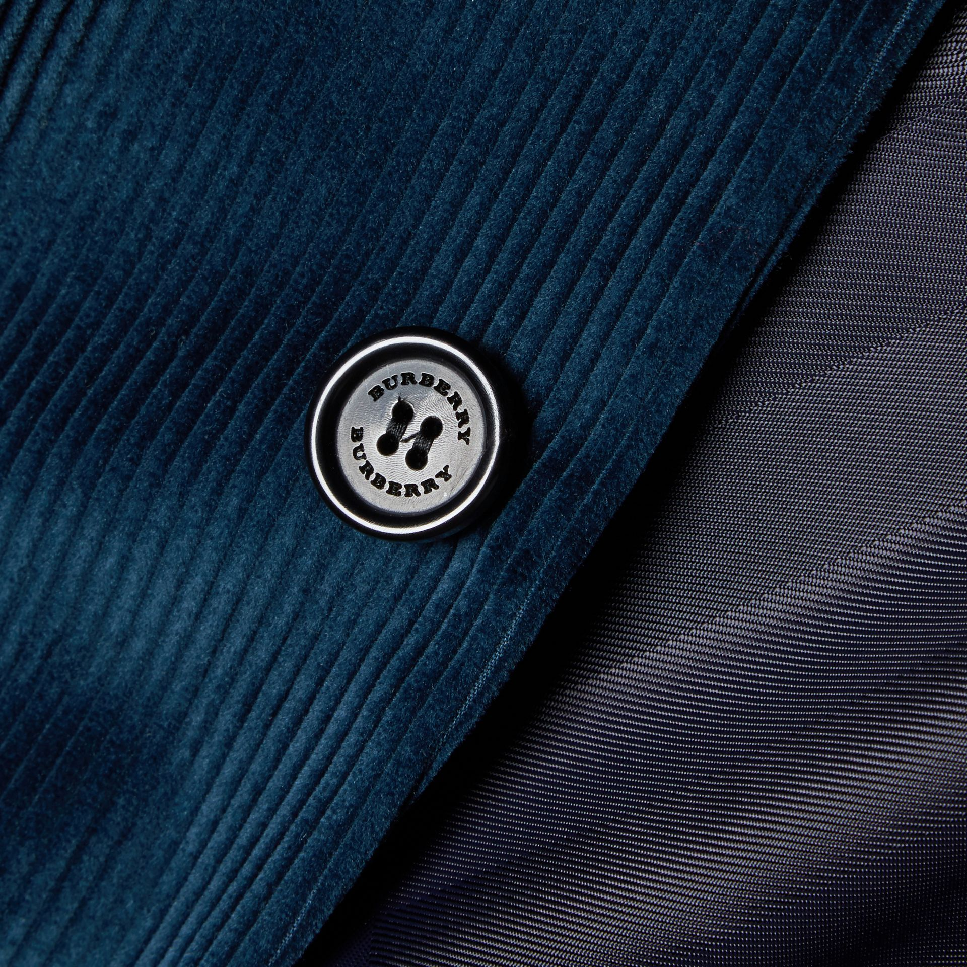 Navy Slim Fit Cotton Corduroy Jacket - gallery image 2