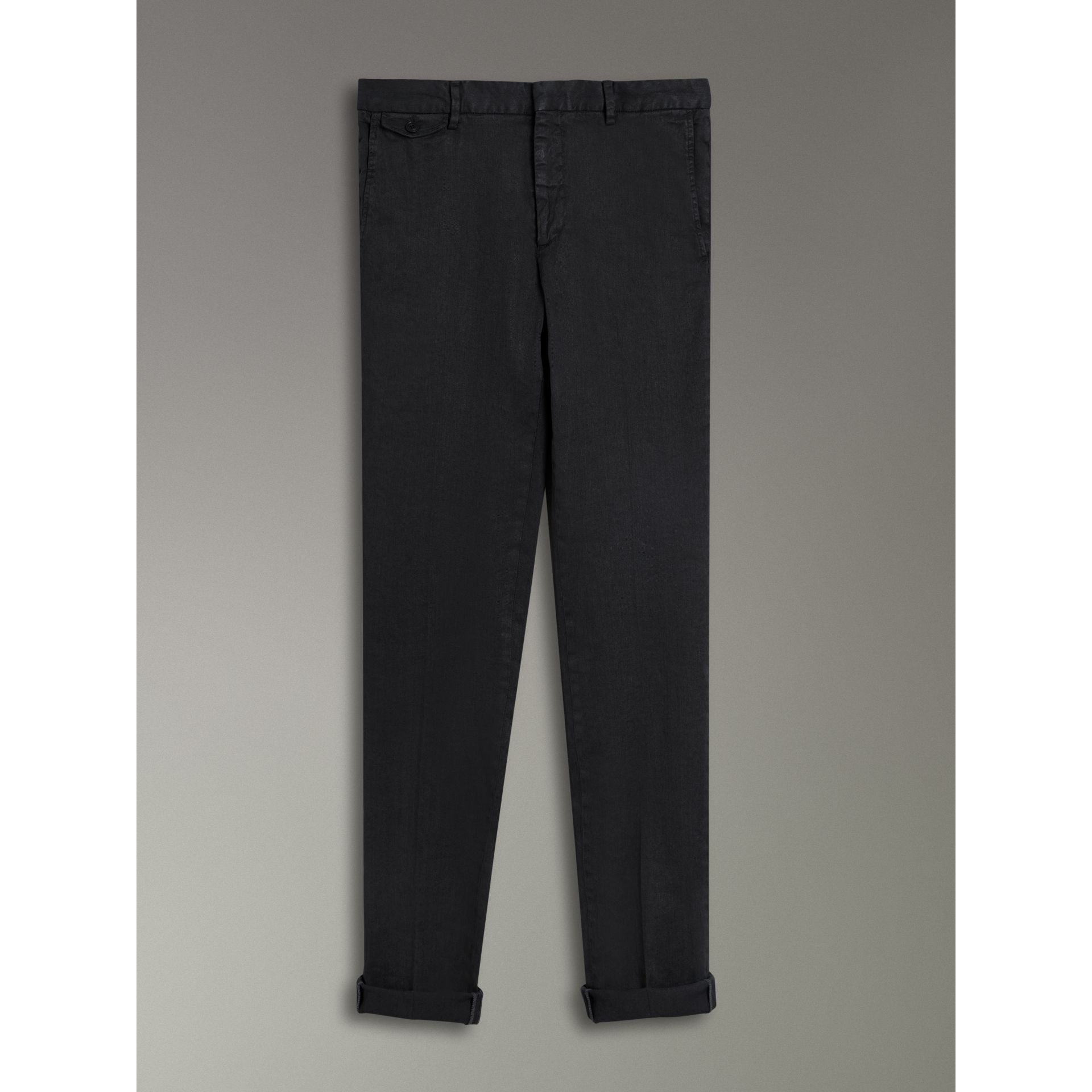 Linen Cotton Tailored Trousers in Dark Charcoal - Men | Burberry United Kingdom - gallery image 3