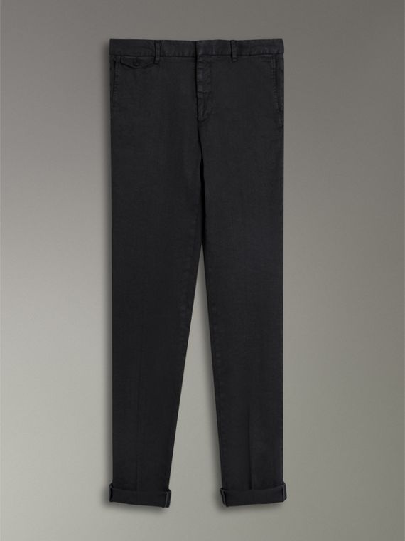 Linen Cotton Tailored Trousers in Dark Charcoal - Men | Burberry United Kingdom - cell image 3