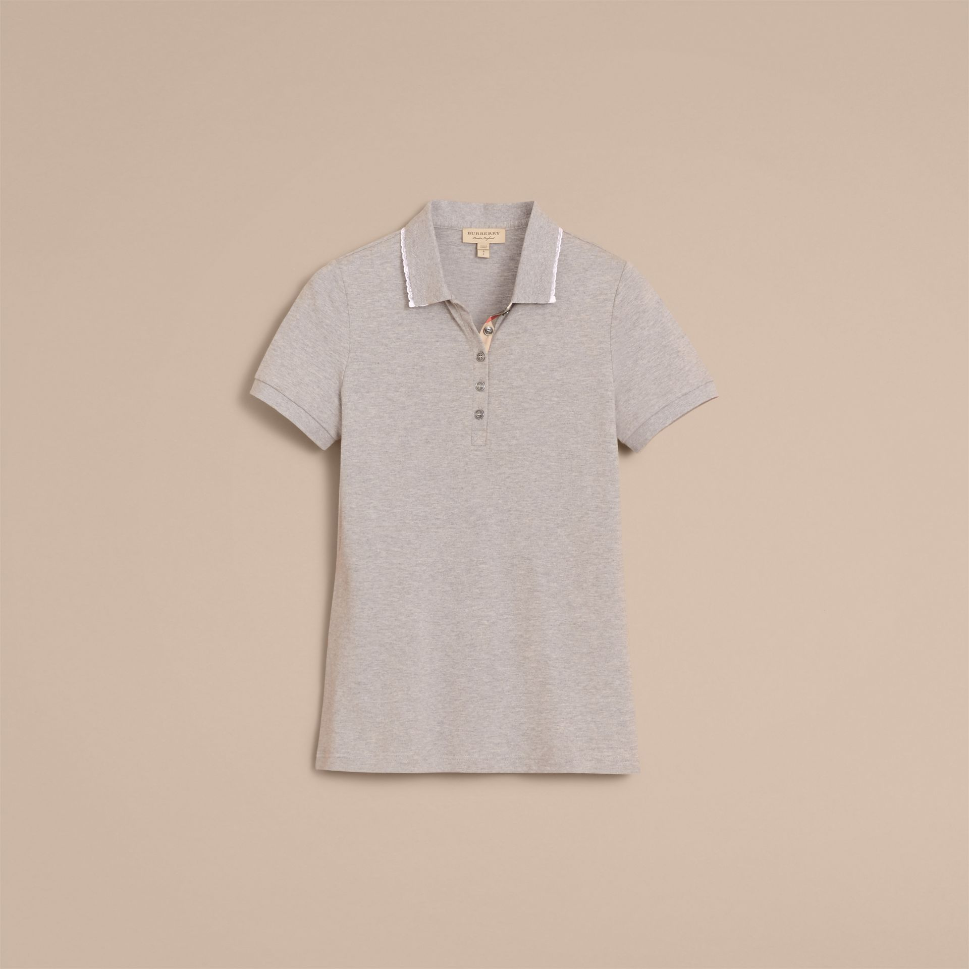 Lace Trim Cotton Blend Polo Shirt with Check Detail in Pale Grey Melange - Women | Burberry - gallery image 3