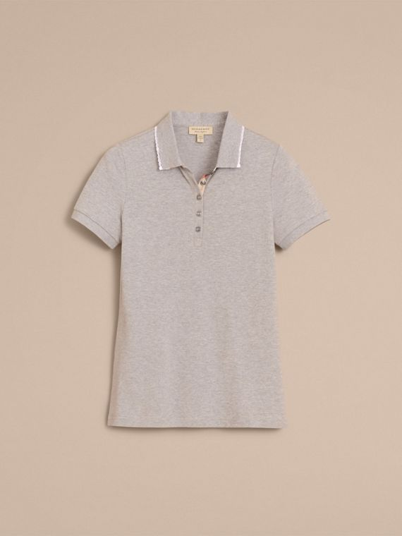 Lace Trim Cotton Blend Polo Shirt with Check Detail in Pale Grey Melange - Women | Burberry Singapore - cell image 3